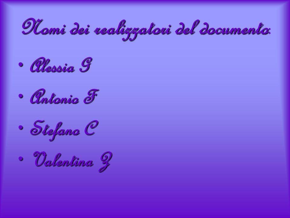 Nomi dei realizzatori del documento: