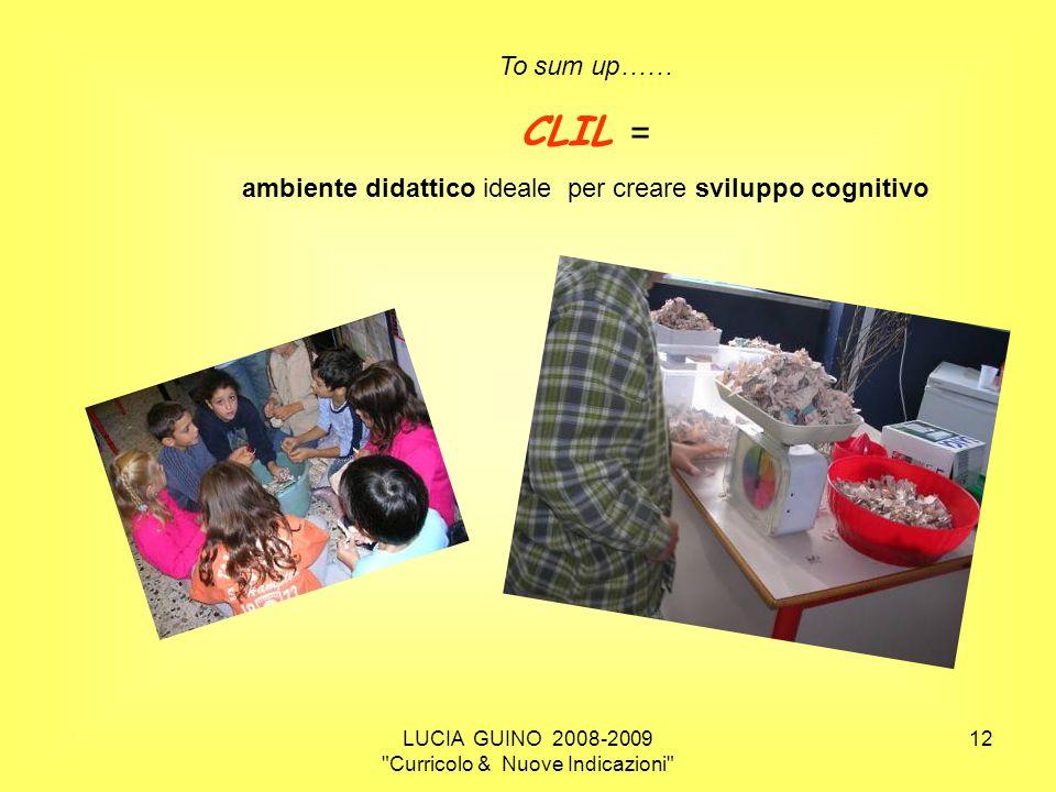 To sum up…… CLIL = ambiente didattico ideale per creare sviluppo cognitivo.