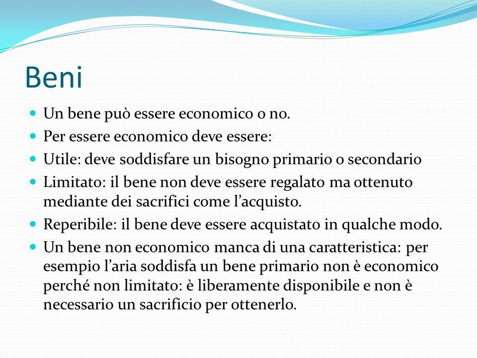 Beni Un bene può essere economico o no.