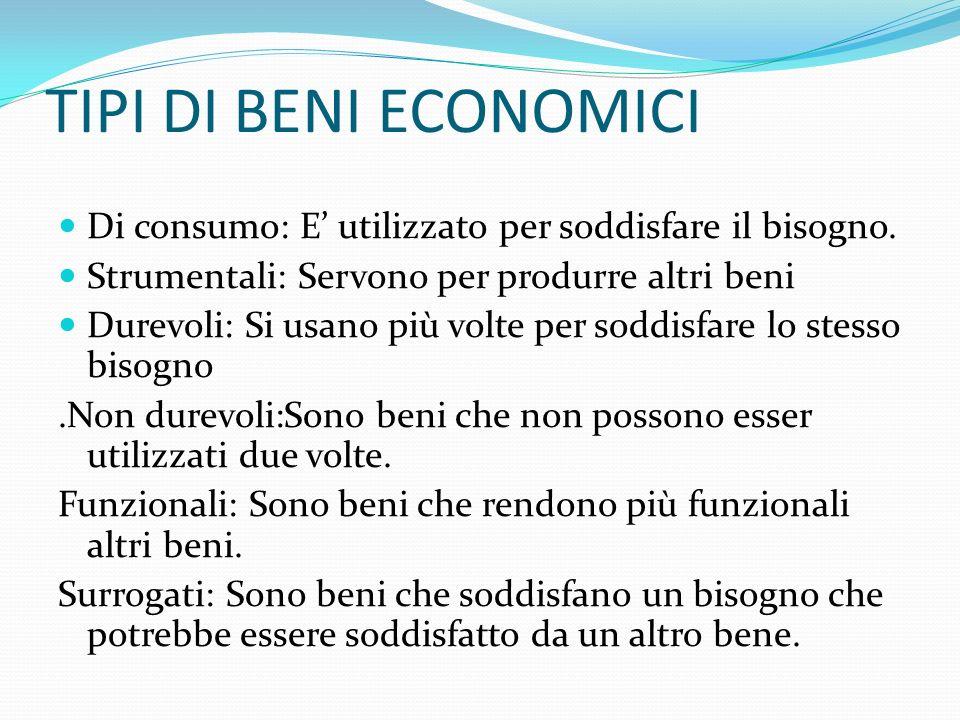 TIPI DI BENI ECONOMICIDi consumo: E' utilizzato per soddisfare il bisogno. Strumentali: Servono per produrre altri beni.