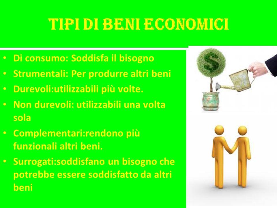 Tipi di beni economici Di consumo: Soddisfa il bisogno