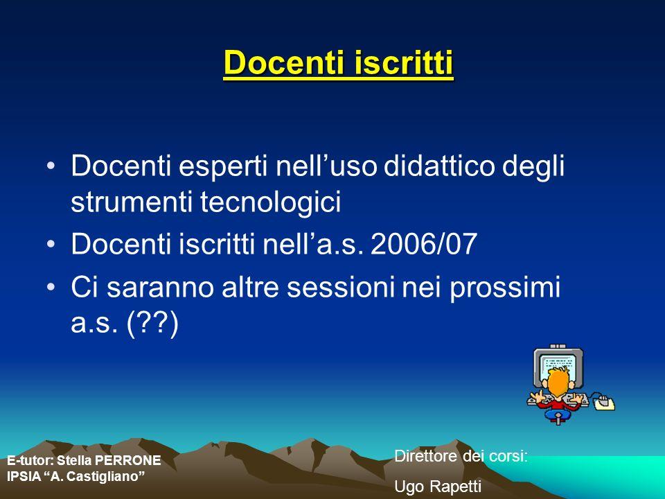 Docenti iscritti Docenti esperti nell'uso didattico degli strumenti tecnologici. Docenti iscritti nell'a.s. 2006/07.