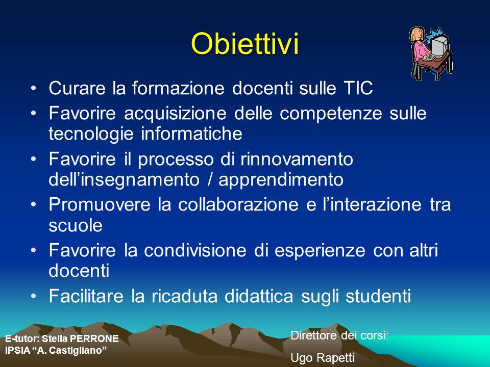 Obiettivi Curare la formazione docenti sulle TIC