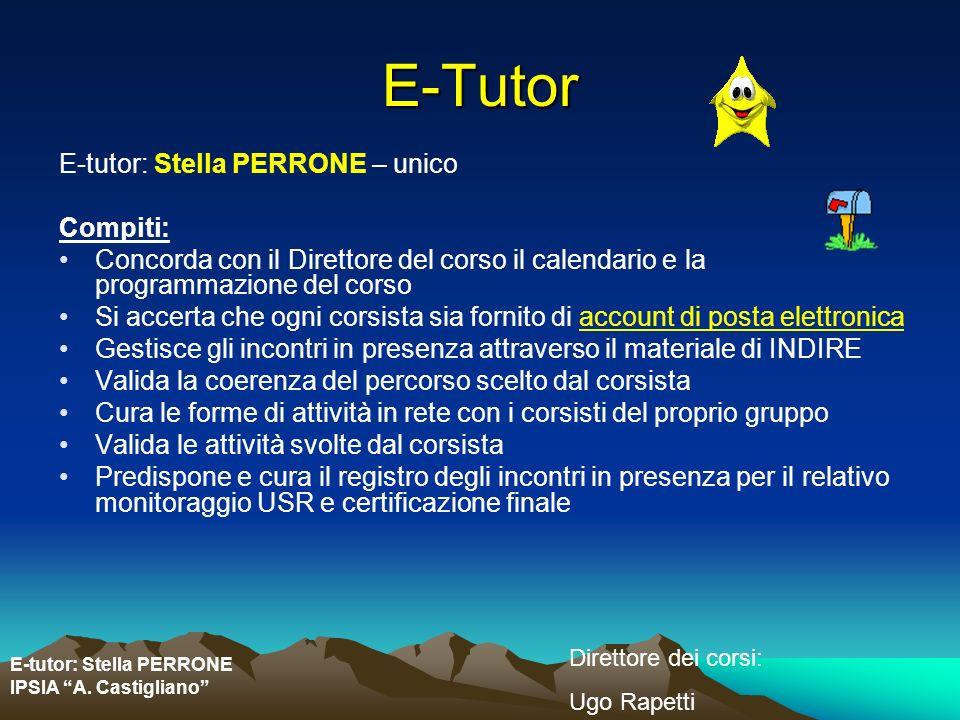 E-Tutor E-tutor: Stella PERRONE – unico Compiti: