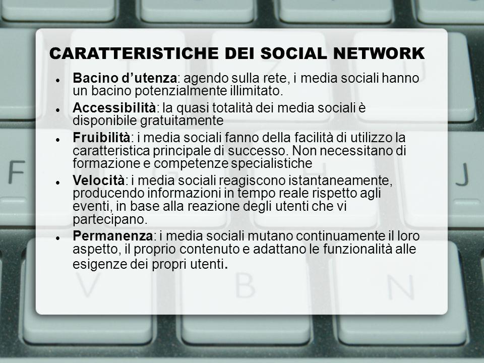 CARATTERISTICHE DEI SOCIAL NETWORK