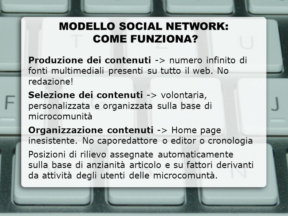 MODELLO SOCIAL NETWORK: