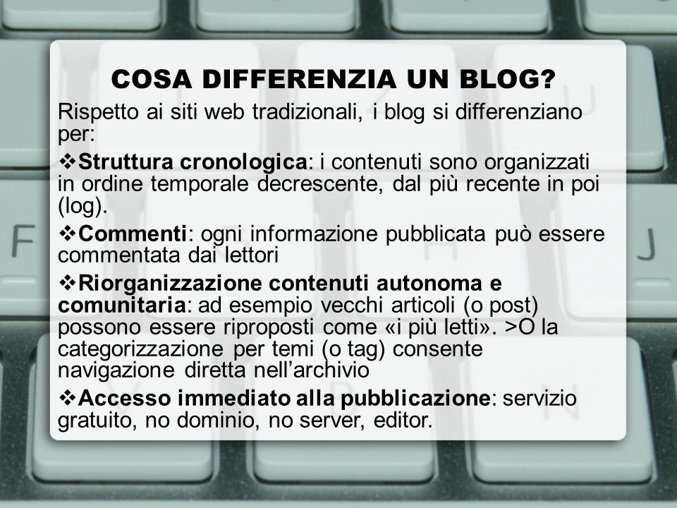 COSA DIFFERENZIA UN BLOG