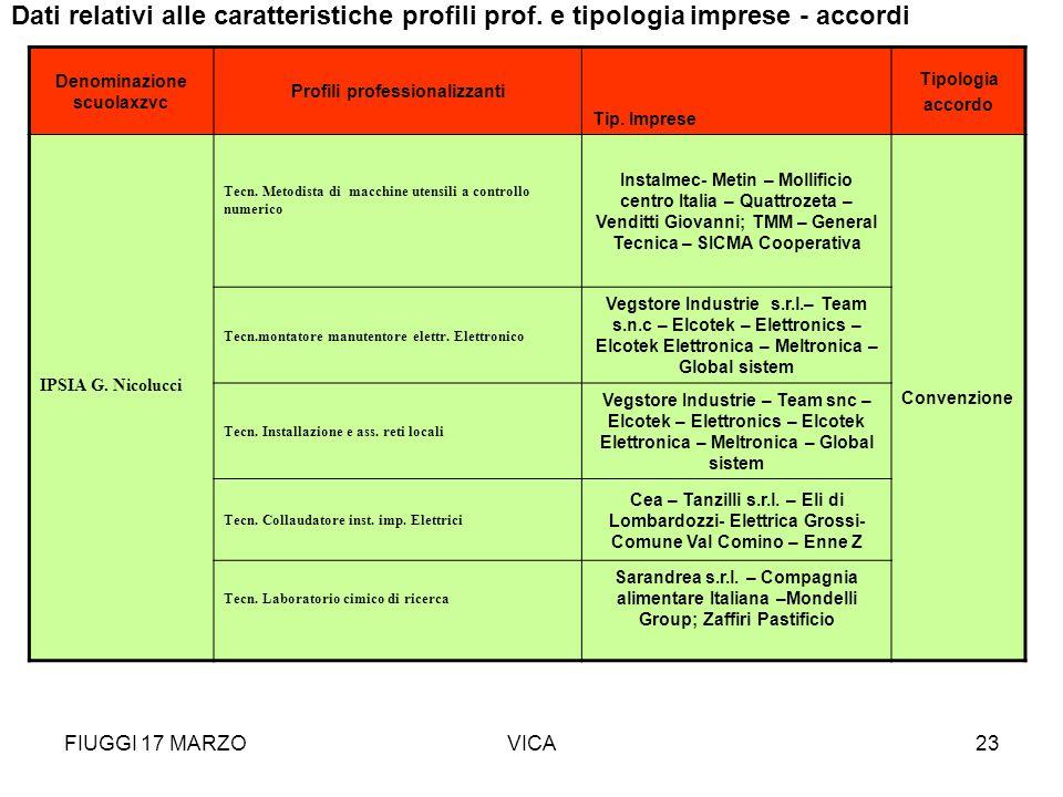 Denominazione scuolaxzvc Profili professionalizzanti