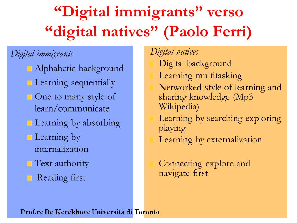 Digital immigrants verso digital natives (Paolo Ferri)