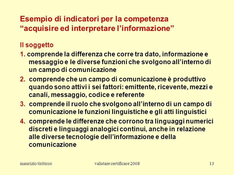 Esempio di indicatori per la competenza acquisire ed interpretare l'informazione