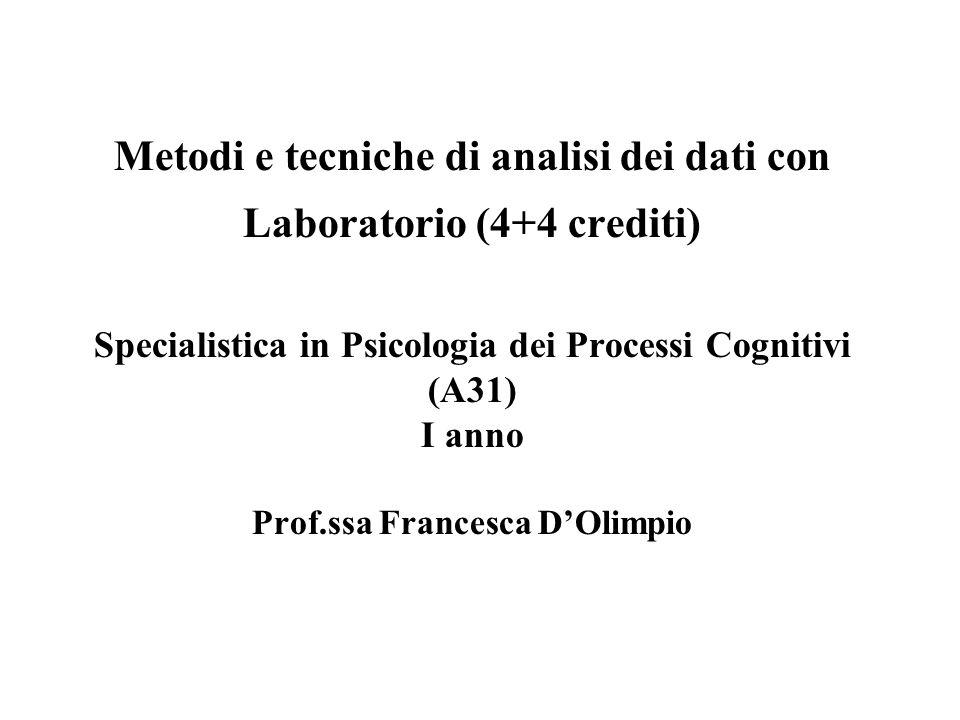 Metodi e tecniche di analisi dei dati con Laboratorio (4+4 crediti) Specialistica in Psicologia dei Processi Cognitivi (A31) I anno Prof.ssa Francesca D'Olimpio