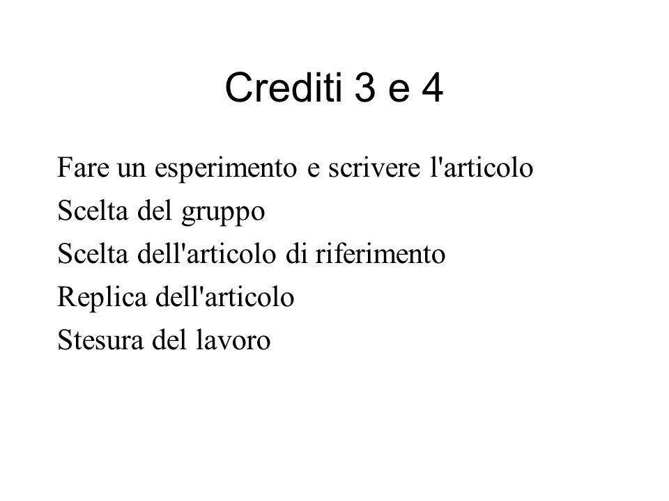 Crediti 3 e 4 Fare un esperimento e scrivere l articolo