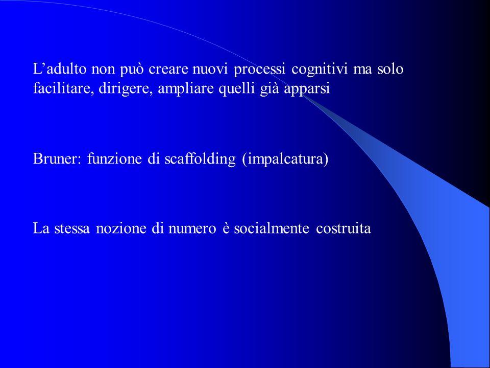 L'adulto non può creare nuovi processi cognitivi ma solo facilitare, dirigere, ampliare quelli già apparsi
