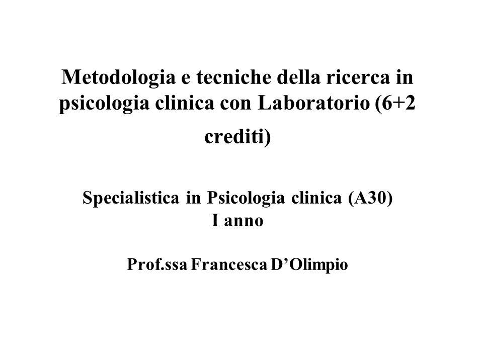 Metodologia e tecniche della ricerca in psicologia clinica con Laboratorio (6+2 crediti) Specialistica in Psicologia clinica (A30) I anno Prof.ssa Francesca D'Olimpio