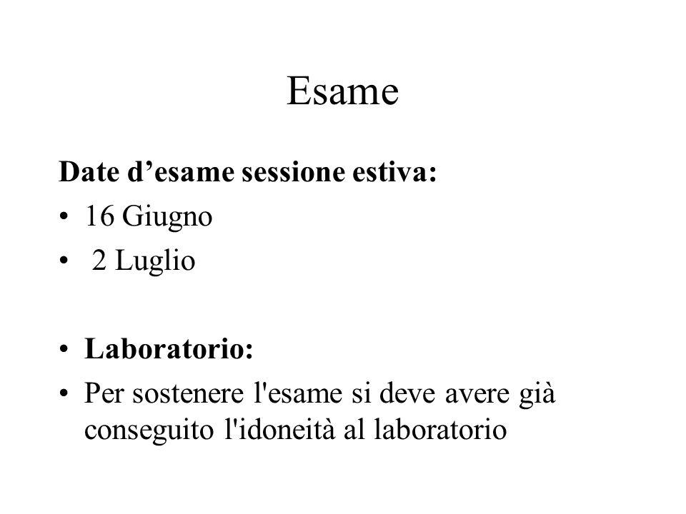 Esame Date d'esame sessione estiva: 16 Giugno 2 Luglio Laboratorio: