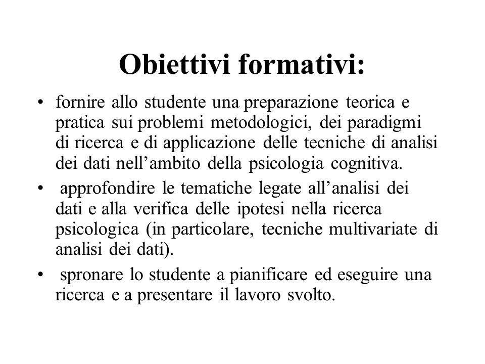 Obiettivi formativi: