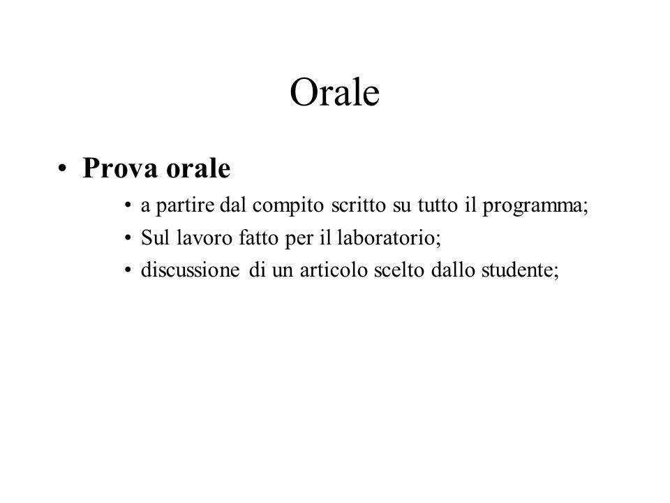 Orale Prova orale a partire dal compito scritto su tutto il programma;