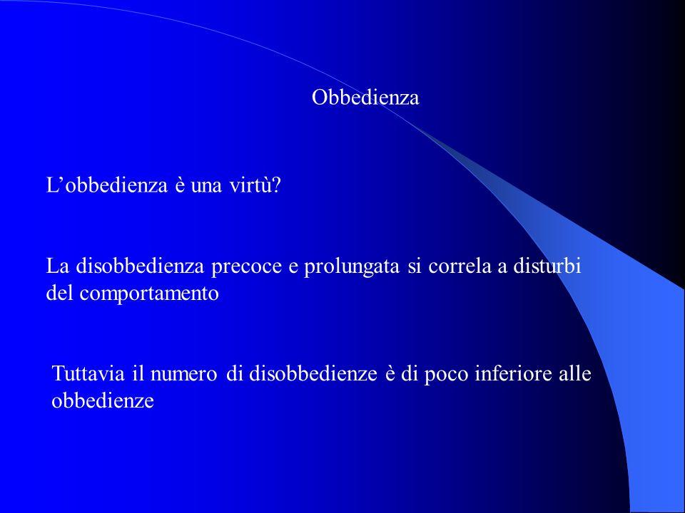 Obbedienza L'obbedienza è una virtù La disobbedienza precoce e prolungata si correla a disturbi del comportamento.