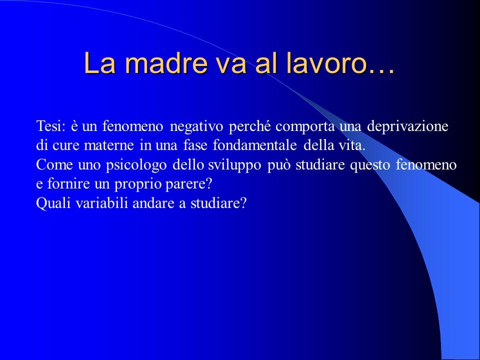 La madre va al lavoro… Tesi: è un fenomeno negativo perché comporta una deprivazione di cure materne in una fase fondamentale della vita.