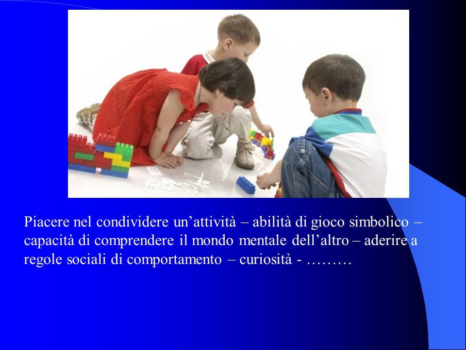 Piacere nel condividere un'attività – abilità di gioco simbolico – capacità di comprendere il mondo mentale dell'altro – aderire a regole sociali di comportamento – curiosità - ………