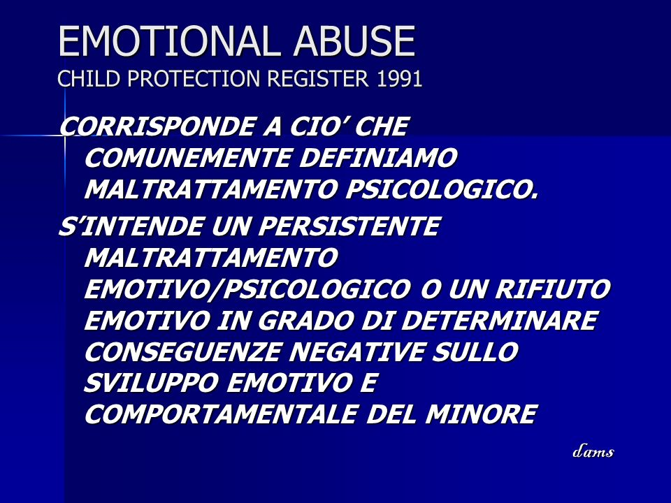 EMOTIONAL ABUSE CHILD PROTECTION REGISTER 1991