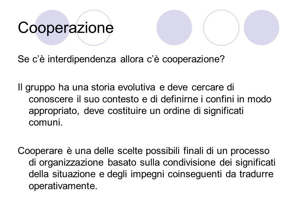 Cooperazione Se c'è interdipendenza allora c'è cooperazione