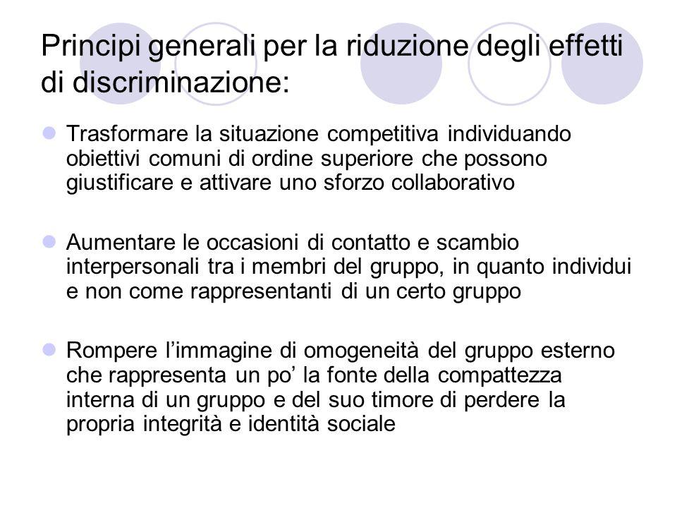 Principi generali per la riduzione degli effetti di discriminazione: