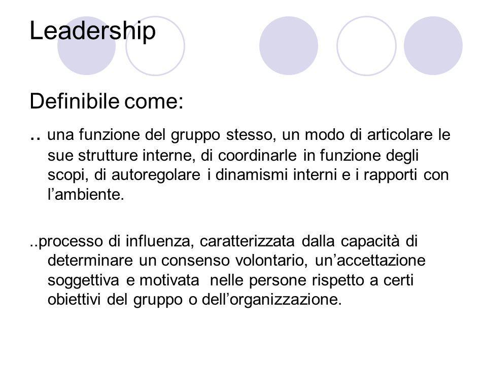 Leadership Definibile come: