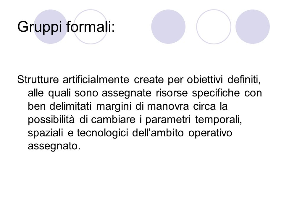 Gruppi formali: