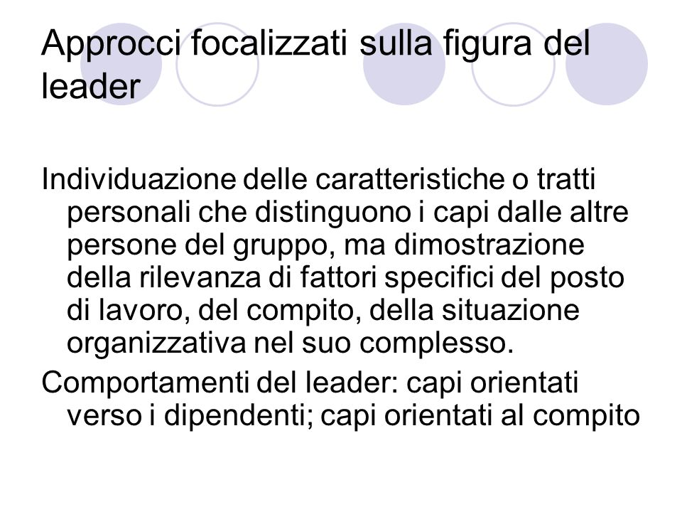 Approcci focalizzati sulla figura del leader