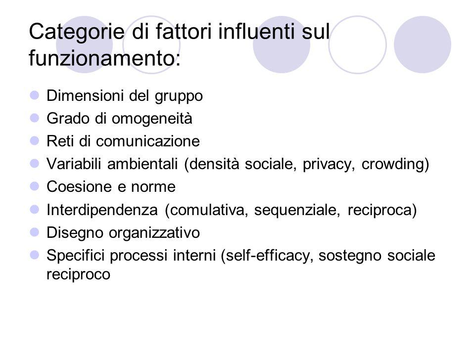 Categorie di fattori influenti sul funzionamento: