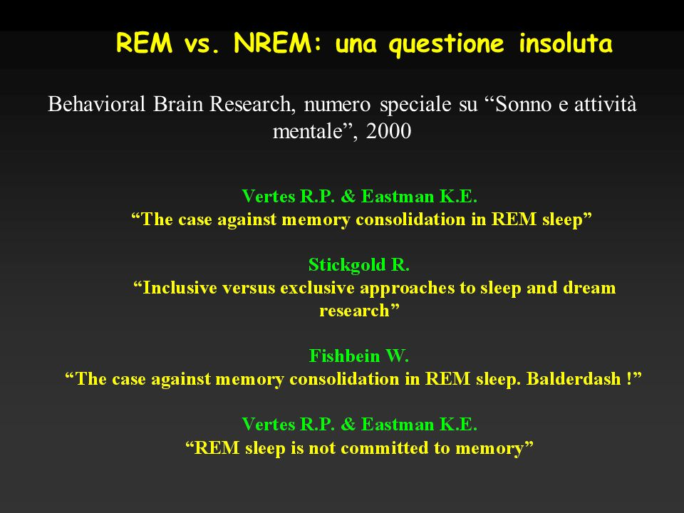 REM vs. NREM: una questione insoluta