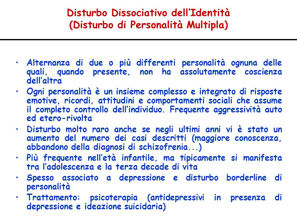 Disturbo Dissociativo dell'Identità (Disturbo di Personalità Multipla)