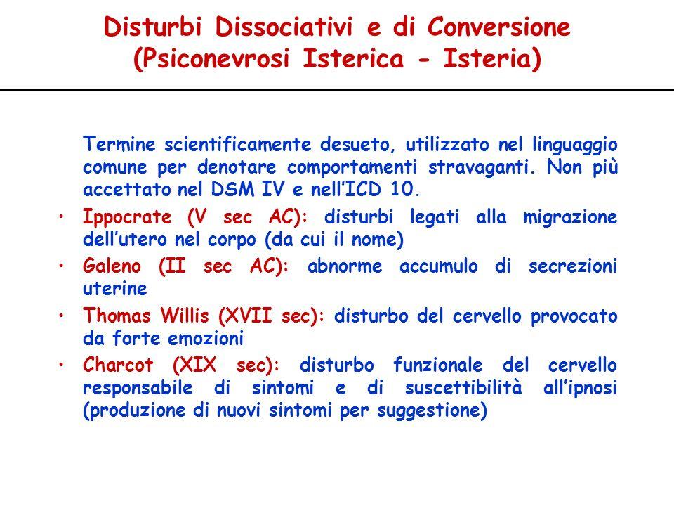 Disturbi Dissociativi e di Conversione (Psiconevrosi Isterica - Isteria)
