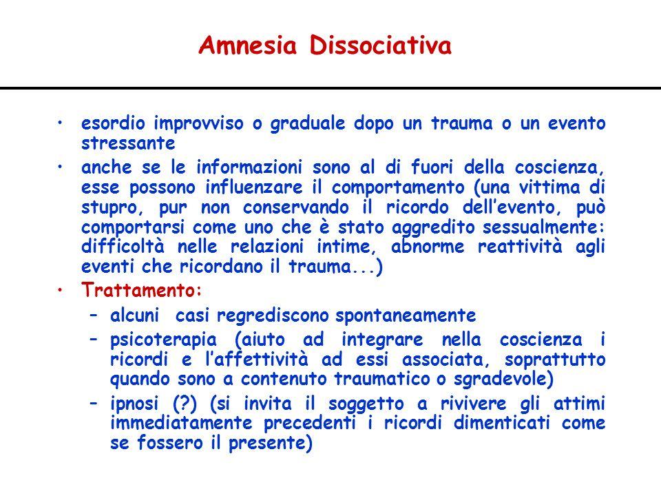 Amnesia Dissociativa esordio improvviso o graduale dopo un trauma o un evento stressante.