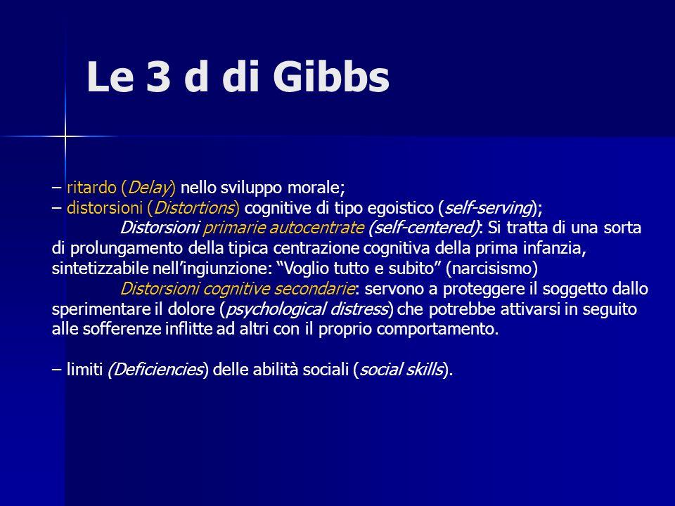 Le 3 d di Gibbs – ritardo (Delay) nello sviluppo morale;