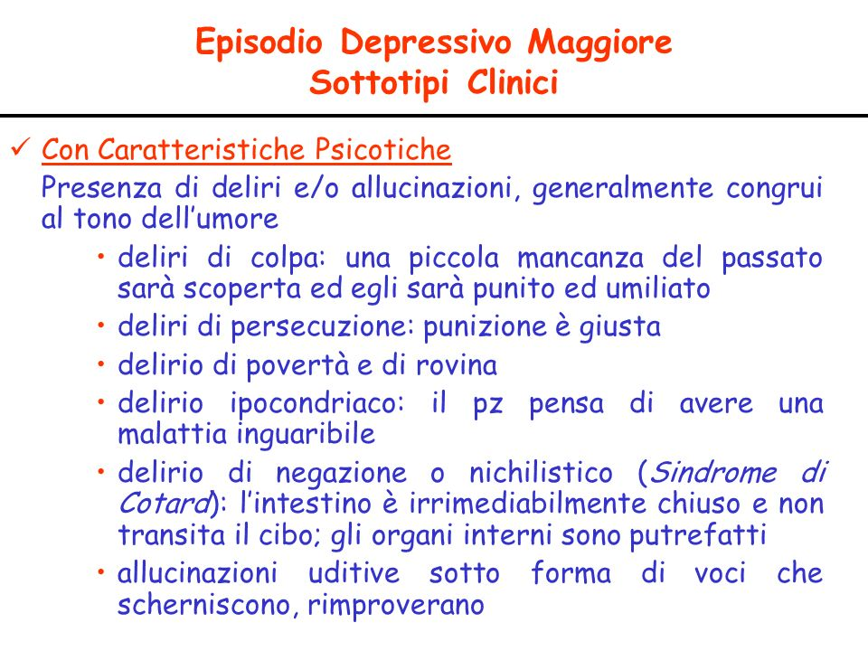 Episodio Depressivo Maggiore Sottotipi Clinici