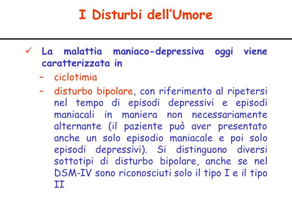 I Disturbi dell'Umore La malattia maniaco-depressiva oggi viene caratterizzata in. ciclotimia.