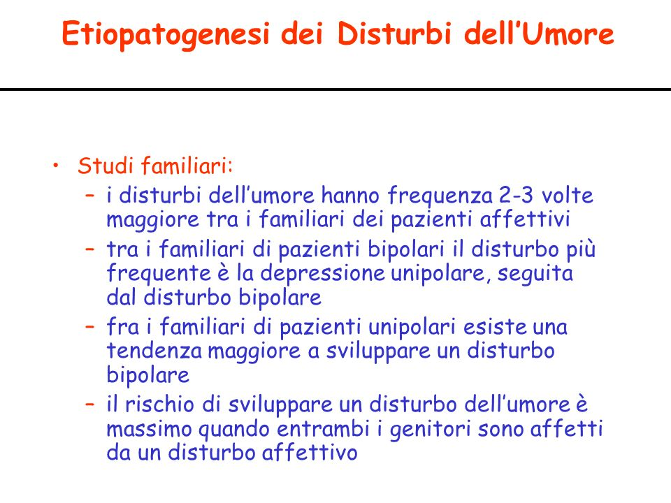Etiopatogenesi dei Disturbi dell'Umore