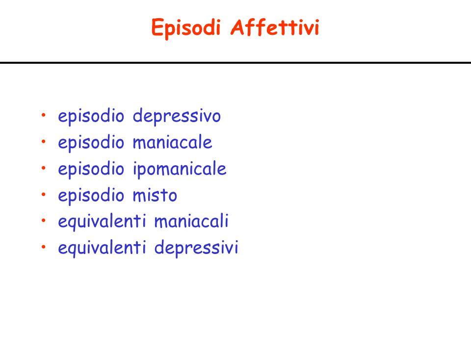 Episodi Affettivi episodio depressivo episodio maniacale