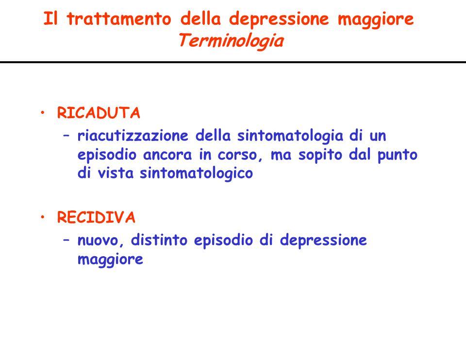 Il trattamento della depressione maggiore Terminologia