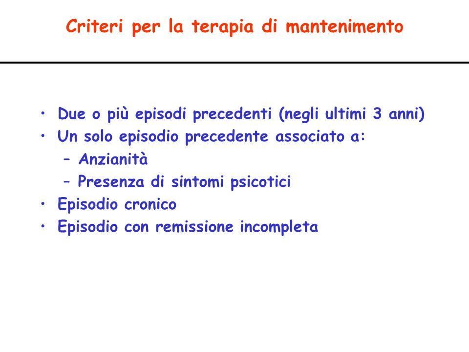 Criteri per la terapia di mantenimento