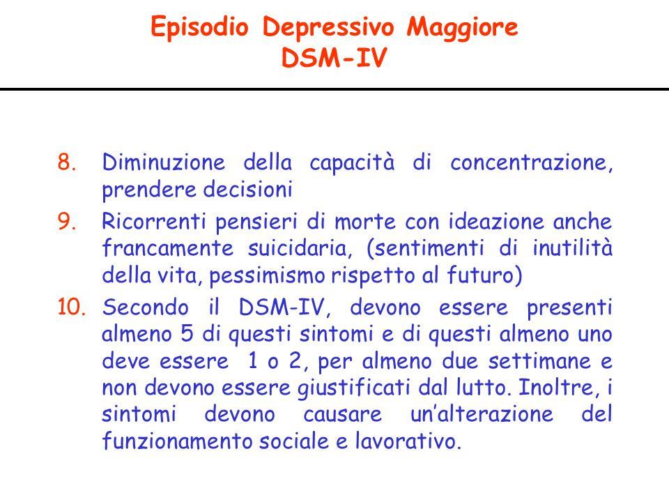 Episodio Depressivo Maggiore DSM-IV