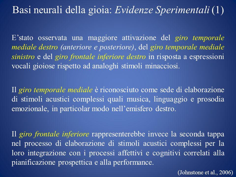 Basi neurali della gioia: Evidenze Sperimentali (1)