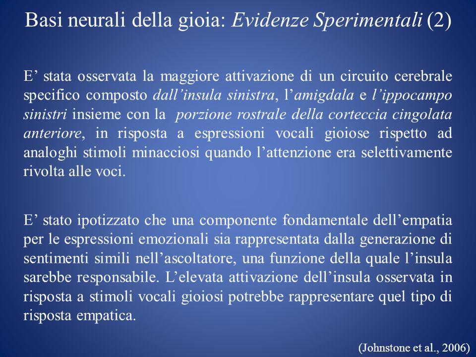 Basi neurali della gioia: Evidenze Sperimentali (2)