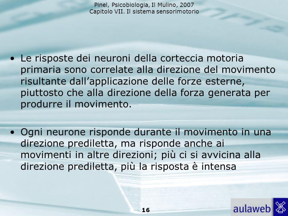 Le risposte dei neuroni della corteccia motoria primaria sono correlate alla direzione del movimento risultante dall'applicazione delle forze esterne, piuttosto che alla direzione della forza generata per produrre il movimento.