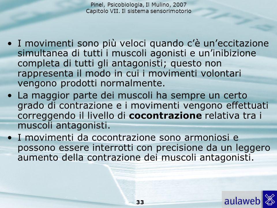 I movimenti sono più veloci quando c'è un'eccitazione simultanea di tutti i muscoli agonisti e un'inibizione completa di tutti gli antagonisti; questo non rappresenta il modo in cui i movimenti volontari vengono prodotti normalmente.
