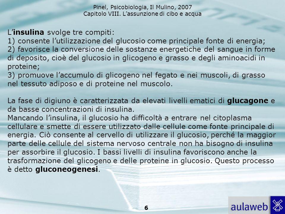 L'insulina svolge tre compiti: 1) consente l'utilizzazione del glucosio come principale fonte di energia; 2) favorisce la conversione delle sostanze energetiche del sangue in forme di deposito, cioè del glucosio in glicogeno e grasso e degli aminoacidi in proteine; 3) promuove l'accumulo di glicogeno nel fegato e nei muscoli, di grasso nel tessuto adiposo e di proteine nel muscolo.