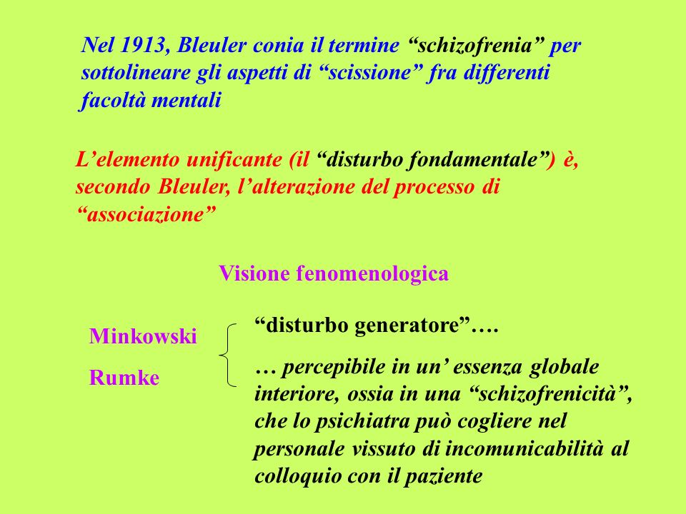 Nel 1913, Bleuler conia il termine schizofrenia per sottolineare gli aspetti di scissione fra differenti facoltà mentali