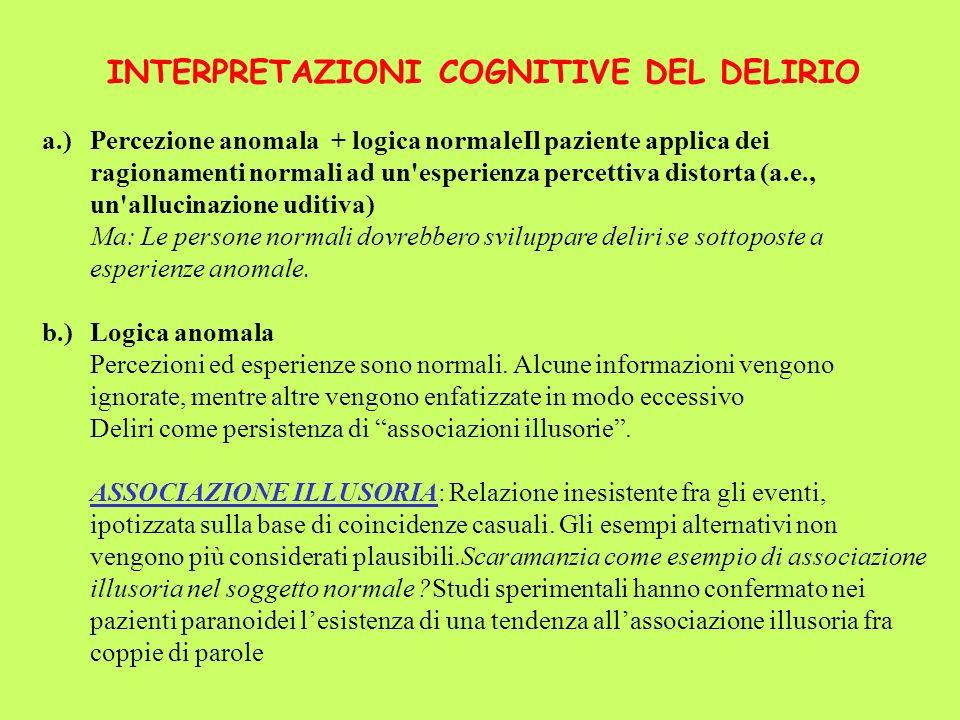 INTERPRETAZIONI COGNITIVE DEL DELIRIO